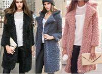 ingrosso grande cappotto di cardigan in lana-caduta all'ingrosso delle donne Cardigan maglione di inverno Scialli Big avvolge blocco del manicotto del cardigan dello scialle della pelliccia Knit collare maglione del capo del cappotto di lana manica lunga