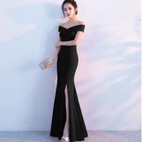 tenedor vestido de noche al por mayor-2018 nuevos vestidos elegantes mujeres bonitas sin mangas tenedor vestido de noche largo moda fuera del hombro vestidos de baile Vintage 3 colores