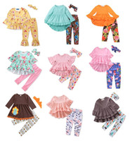 Wholesale baby clothes wholesalers online - Baby Girls Back to School Outfits Designs Tops Pants Headbands Scarfs Bunny Striped Unicorn Flora Big Sisiter Kids Clothing Sets T