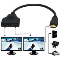 соединительные шнуры оптовых-1 в 2 из HDMI конвертер подключите кабель шнур 2 двойной порт y Splitter 1080P HDMI v1.Мужчина 4 Для того чтобы удвоить женский кабель переходники
