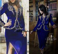 vestido de terciopelo de encaje cuello al por mayor-Karakou Algérien Royal Blue Prom Vestidos formales con manga larga 2019 Gold Lace Velvet Peplum Dubai Árabe vestido de noche de té