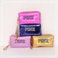 Wholesale pillow organizer - 11 Colors PINK Laser Cosmetic Bag Large Capacity Waterproof Makeup Bags Women Laser Leather Cosmetics Organizer CCA9715 30pcs