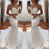 Wholesale two piece evening dress online - 2018 Sexy Sweetheart Mermaid Two Pieces Evening Dresses Sleeveless Custom Made Special Occasion Dresses Lace Beaded Appliques Prom Dresses