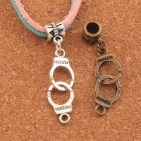 63111264d 100pcs lot 42.3x10.2mm Handcuffs Freedom Big Hole Beads Antique Silver  Bronze Dangle Fit European Charm Bracelets Jewelry DIY B243