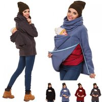 ingrosso supporto per canguro-Womens Maternity Carrier Baby Holder Pullover Kangaroo Felpa con cappuccio Duo Top Warm Pullover Felpe Baby Carry Hoodies