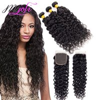 Wholesale human hair bundles 4pcs resale online - Remy Malaysian Water Wave Bundles With Frontal Wet and Wavy Natural Color Unprocessed Human Hair Extensions Price set