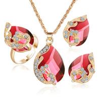 indische schmuckringe großhandel-Mode Österreichischen Kristallschmuck Set für Frauen Ohrringe Anhänger Halskette und Einstellbare Ringe Set YMCJT013