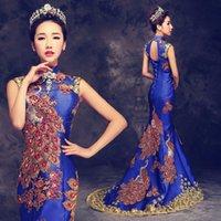 rote luxus meerjungfrau brautkleid großhandel-Luxus Blau Rot Gesticktes Chinesisches Abendkleid Lange Cheongsam Braut Hochzeit Qipao Mermaid Host Kleider Oriental Qi Pao