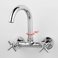 Wholesale Double Sink Kitchen Faucet - Double Handle Kitchen Faucet Mixer Wall Mounted Brass Copper Chrome Plated Bathroom Kitchen Sink Water Tap Hot Cold Water