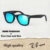 Wholesale Leather Glasses Cases For Men - High quality Brand Designer Metal hinge Sunglasses for Women Men plank frame Glass Lens with Leather cases and box