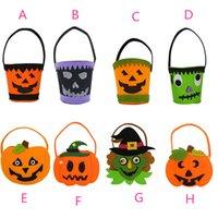 ingrosso sacchetto di vestito tessuto-Halloween decorativa zucca secchio puntelli abito forniture bambini non tessuto portatile sacchetto di zucca regalo candy bag H031