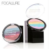 Wholesale Minerals Kit - FOCALLURE Pro DIY Rainbow Highlighter Powder Palette Bronzer Contour Soft Mineral Face Highlighter Makeup Palette Kit BLUSH