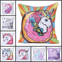 Wholesale cute cartoon pattern printed for sale - Unicorn Pattern Cartoon Pillow Case Cartoon Cute Home Decor Cushion Cover Polyester Fiber Mermaid Sequin Exquisite Pillowcase sr jj