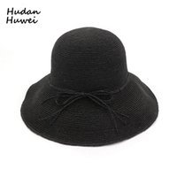 Women Woven Straw Bucket Hats Foldable Sun Hat Handmade Crochet Hat Wide  Brim Vacation Cap Summer Beach Hats for Ladies GH-501 f1009f555c1d