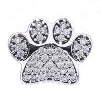 ingrosso perline di animali-Zampa Stampa Charms Bead Autentico 925 Sterling Silver Animal Footprint Beads Per Monili Che Fanno DIY Braccialetti di Marca Accessori HB384