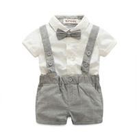Wholesale baby boy suspender trousers - 2018 Baby Boy Spring Autumn Gentleman Suit Newborn Baby Bow Tie Shirt +Suspender Trousers 2pcs Wedding  Party Children 'S Clothes