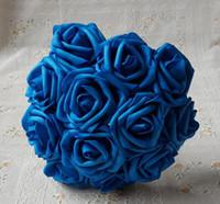 ingrosso nozze delle rose blu-Fiori artificiali Rose blu royal per bouquet da sposa Bouquet da sposa Wedding Decor Arrangement Centrotavola Lotti all'ingrosso