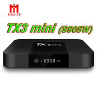 melhores tvs 3d venda por atacado-Melhor TX3 Mini TV CAIXA de 2 GB 16 GB Quad Core Amlogic S905W Caixa Inteligente Android 7.1 Media Player 3D Livre