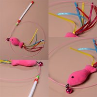 Wholesale mouse fishing - Attractive Cat Toys Pink Fish Modelling With Mint Delicate Small Bell Steel Wire Stick Coloured Ribbon Free Shipping 2 2yc V
