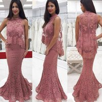 Wholesale long dresses pictures free - Modest Lace Mermaid Evening Dresses 2018 New Cheap Appliques Long Trumpet High Neck Formal Evening Party Prom Gowns Free Shipping
