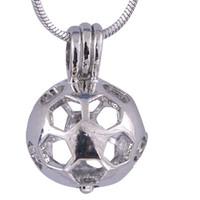 ingrosso fascino della gabbia della sfera-Nastro di palline da calcio Oyster pearl Cage La forma circolare dei colori fornisce il regalo di Natale in acciaio inox P52