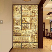 Wholesale abstract paintings for bedroom resale online - Abstract personality character painting large murals TV setting wall paper porch corridor non woven wallpaper in ancient Egypt