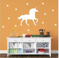 Wholesale 58 Stickers - Fantastic fairy tale Unicorn Horse Vinyl Wall Decal with Stars Nursery Wall Stickers Decor , free shipping 58*64 cm
