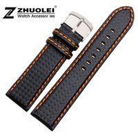 углеродная подкладка оптовых-20mm 21mm 22mm 23mm 24mm Watch Band Carbon Fibre Watch Strap With Orange Soft Leather Lining Stainless Steel Clasp