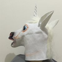 Wholesale white party masks for sale - Latex Horse Head Masquerade Mask Animal Vizard Masks Prank Prop Halloween Festive Party Supplies White Hot Sale 21sr V