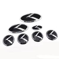 k3 adesivos venda por atacado-7 pçs / lote 3D Auto Volante adesivos Rótulo bota crachá de bota Para KIA OPTIMA K2 / K3 / K5 Venga carro Emblem Wheel Center caps