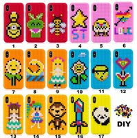 Wholesale Cute Silicone Phone Cases - DIY Soft Silicone Case For Apple Iphone X Cartoon 3D Building Blocks Bricks Skin Shell Rubbler Cell Phone Back Cases Cover Fashion Cute 2018