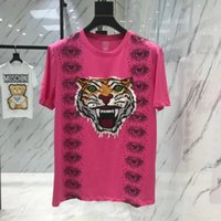 Wholesale men s new model shirt - Men's 2018 new cotton short-sleeved round neck T-shirt tiger head embroidery couple models short-sleeved T-shirt free shipping