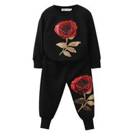 Wholesale Animal Print Pants For Kids - Kids Clothing Sets 2018 New Spring Autumn Boys Clothes Graffiti Printing Sweatshirts Casual Pants 2Pcs For 2-7 YEARS Girls Suit