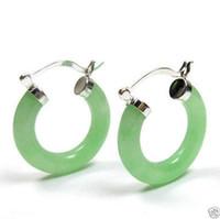 aros de jade venda por atacado-Jóias Natural luz Verde Jade Click Hoop Brincosfree shipping
