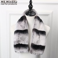 Wholesale real fur scarves for women resale online - Rex Rabbit Fur Scarf Chinchilla Design Thicken Real Fur Scarf Very Soft Fur Scarf Winter Neck Warmer for Woman MS MinShu