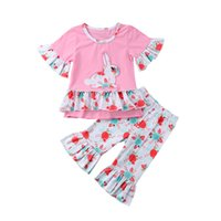 Wholesale boutique easter clothing online - Girls Spring Clothes Set Easter Bunny Cute T Shirts Vintage Ruffle Bell bottom Pants Kids Clothing Boutique Cotton Outfits Set