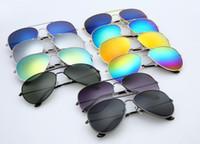 marcos de gafas de color de los hombres al por mayor-Venta al por mayor de fábrica Última Moda Estilo Clásico Marco de Metal Espejo de color hombres y mujeres Gafas de Sol Accesorios de Moda Gafas