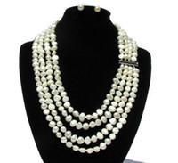 белые серьги из жемчуга оптовых-Новый комплект ювелирных изделий Real Pearl, 7-8 мм, белый бароккоПодлинная серьги с речным жемчугом, невесты