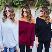blusas soltas sexy venda por atacado-Borgonha Marinha Outono Camisolas das Mulheres Sexy Fora Do Ombro Solto Pull Designer de Moda Feminina Casacos de Inverno Pullover Barato S-XL