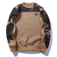 toka kurdele toptan satış-Moda Yan Toka Şerit Kamuflaj Hoodies Mens Hip Hop Uzun Kollu Casual Camo Kazak Kapüşonlu Tişörtü Erkek Streetwear S-2XL