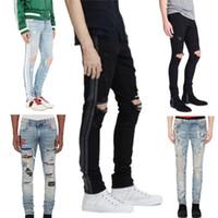 Wholesale famous black holes - 2018 High quality Mens jeans Distressed Motorcycle biker jeans Rock Skinny Slim Ripped hole stripe Famous Brand Denim pants Designer jeans
