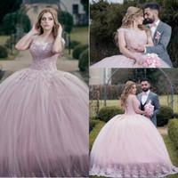 ingrosso abiti arabi dubai-.2018 Stunning Pink Quinceanera Dresses Dubai Dubai Ball Gowns Off spalle Principessa Sweet 16 Pageant Evening Party Gowns Corsetto Indietro