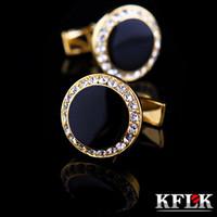 gemelos de oro de lujo al por mayor-Kflk joyería camisa francesa gemelos para hombre diseñador de la marca Puños botón de enlace de oro masculino de alta calidad de la boda de lujo envío gratis