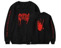 женская модель hoodies оптовых-XXXTENTACION рэпер памятный пуловер толстовка XXX месть письмо руки Palm печати свитер футболка Мужчины Женщины мода дизайн толстовки