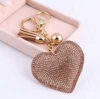 Wholesale tassel key chains resale online - ZOSH Heart Keychain Leather Tassel Gold Key Holder Metal Crystal Key Chain Keyring Charm Bag Auto Pendant Gift Price