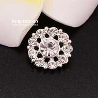 Wholesale Wholesale Sewing Buttons - Diamante Button Crystal Rhinestone Button Sew On Flower Center 15MM 20pcs lot Shank Back Silver Color KD94