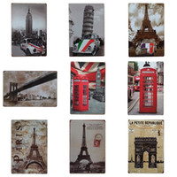 Wholesale posters eiffel tower - Eiffel Tower Design Iron Painting Fashion Retro Style Tin Sign For Reading Room Bedroom Decoration Tins Poster High Quality 20*30cm ZC