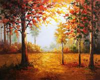 акриловая краска пейзаж оптовых-Diy номера краски комплект с акриловыми пигментами кисти для взрослых начинающих Осенний пейзаж клен холст картины С или без рамки