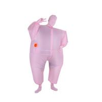 cadılar bayramı karma vücut uymak toptan satış-Şişme Tulum Kostüm Komik Yetişkin Boyutu Şişme Tam Vücut Kostüm Suit Havaya Uçurmak Fantezi Elbise Cadılar Bayramı Spor Parti Yağ