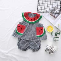 Wholesale Cute Plaid Shirts - NEW girs Kids t shirt sets 100%Cotton plaid with watermelon design summer girl's set causal girl t shirt+ pant kids clothing